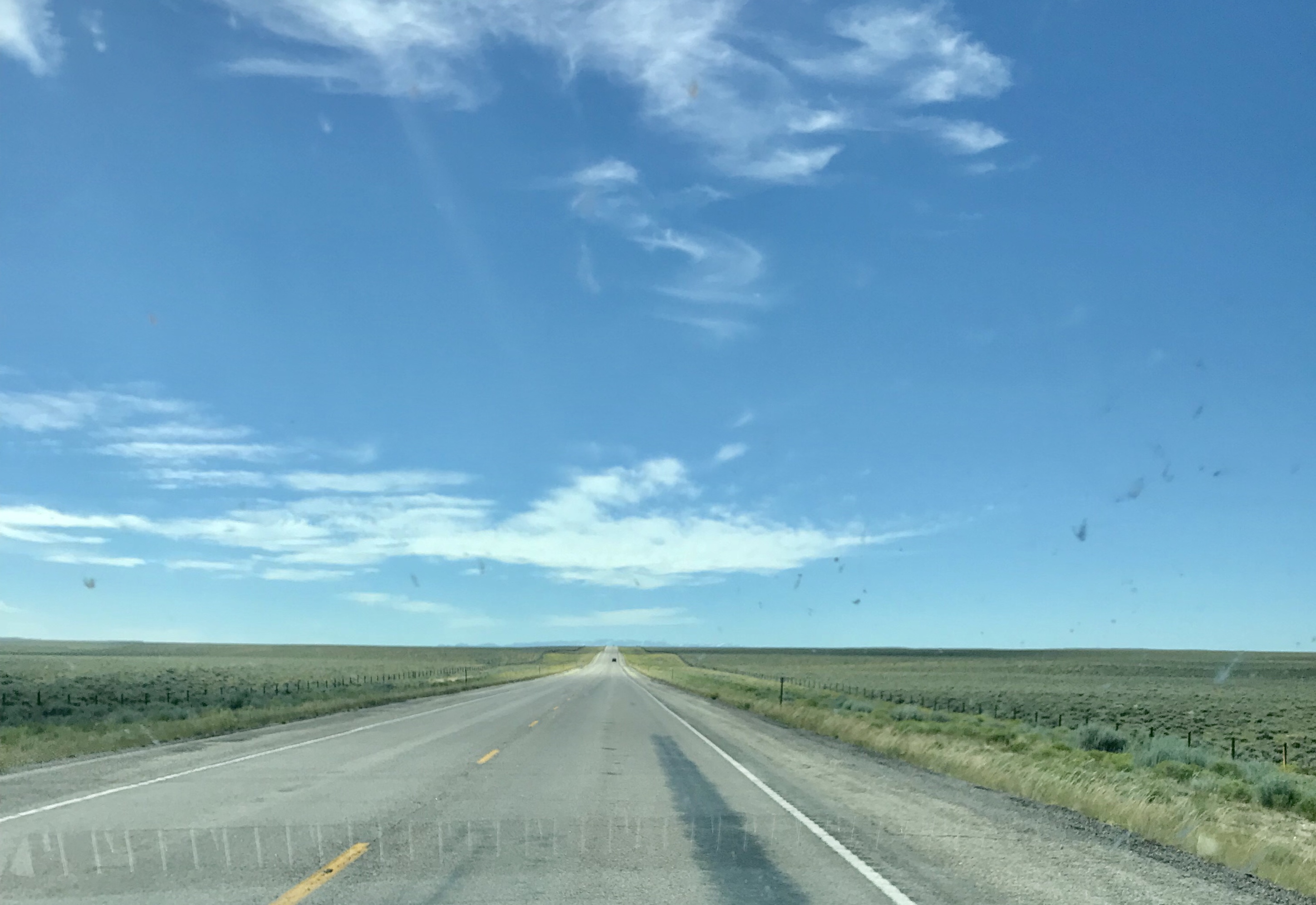 Typical highway scenery in Wyoming